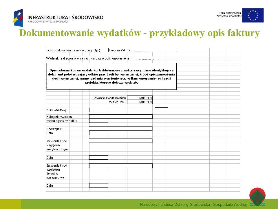 Narodowy Fundusz Ochrony Środowiska i Gospodarki Wodnej UNIA EUROPEJSKA FUNDUSZ SPÓJNOŚCI Dokumentowanie wydatków - przykładowy opis faktury