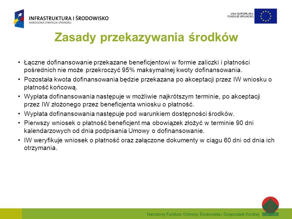 Narodowy Fundusz Ochrony Środowiska i Gospodarki Wodnej UNIA EUROPEJSKA FUNDUSZ SPÓJNOŚCI Wniosek Beneficjenta o płatność Zalecenia w zakresie wzoru wniosku beneficjenta o płatność w ramach PO IiŚ określają wzór wniosku oraz zawierają instrukcje wypełnienia wniosku.