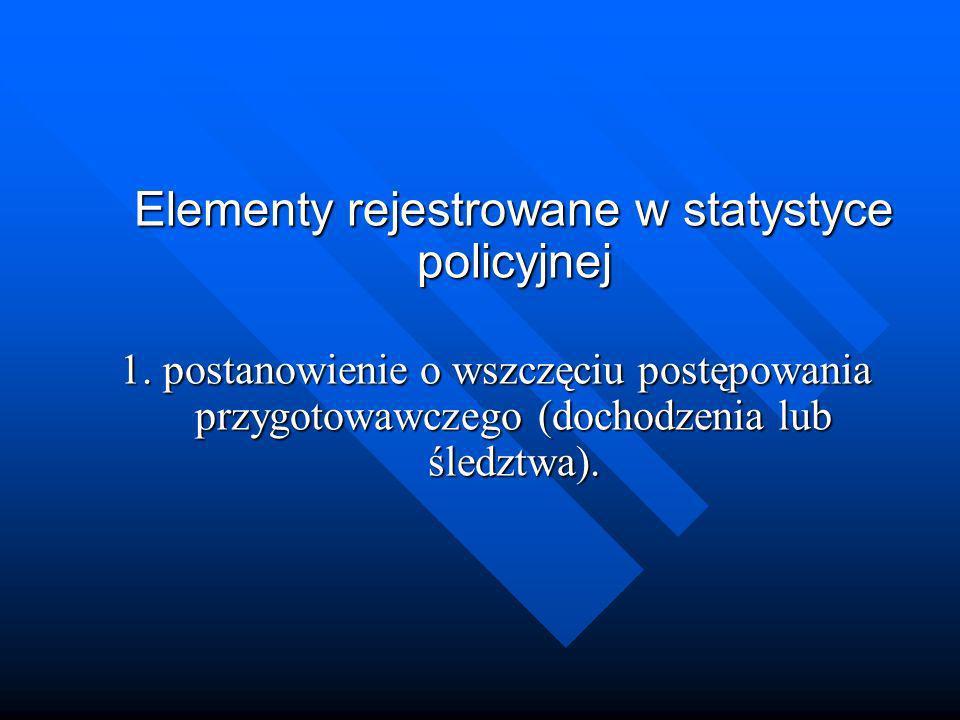 Elementy rejestrowane w statystyce policyjnej 1. postanowienie o wszczęciu postępowania przygotowawczego (dochodzenia lub śledztwa).
