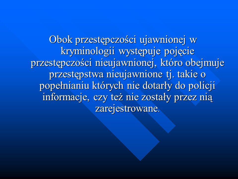 Obok przestępczości ujawnionej w kryminologii występuje pojęcie przestępczości nieujawnionej, któro obejmuje przestępstwa nieujawnione tj. takie o pop