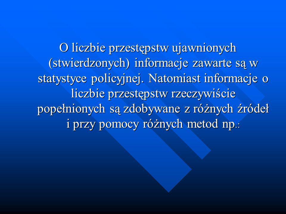 O liczbie przestępstw ujawnionych (stwierdzonych) informacje zawarte są w statystyce policyjnej. Natomiast informacje o liczbie przestępstw rzeczywiśc