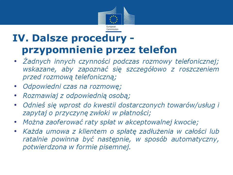 IV. Dalsze procedury - przypomnienie przez telefon Żadnych innych czynności podczas rozmowy telefonicznej; wskazane, aby zapoznać się szczegółowo z ro