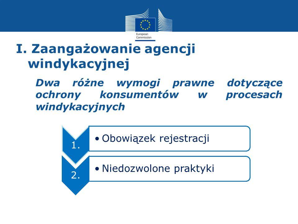 I. Zaangażowanie agencji windykacyjnej Dwa różne wymogi prawne dotyczące ochrony konsumentów w procesach windykacyjnych 1. Obowiązek rejestracji 2. Ni