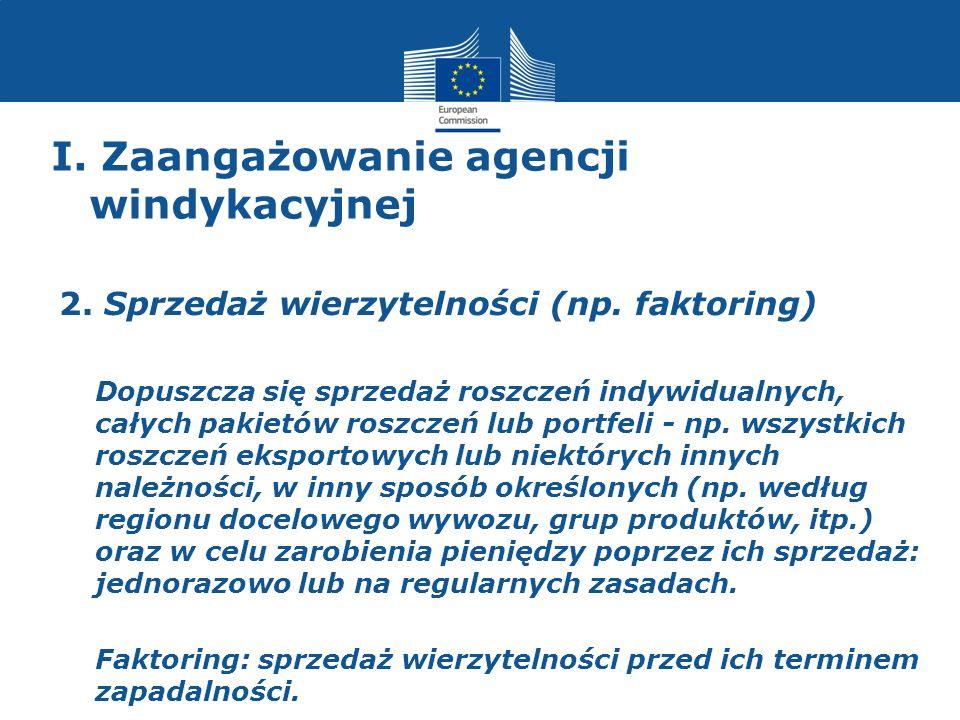 I. Zaangażowanie agencji windykacyjnej 2. Sprzedaż wierzytelności (np. faktoring) Dopuszcza się sprzedaż roszczeń indywidualnych, całych pakietów rosz