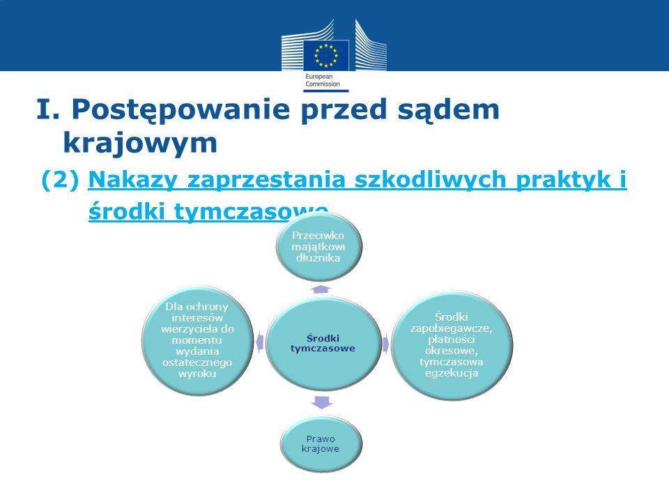 I. Postępowanie przed sądem krajowym (2) Nakazy zaprzestania szkodliwych praktyk i środki tymczasowe Środki tymczasowe Przeciwko majątkowi dłużnika Śr