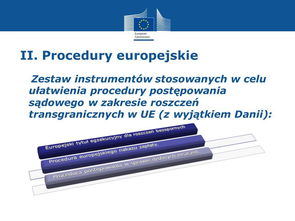 II. Procedury europejskie Zestaw instrumentów stosowanych w celu ułatwienia procedury postępowania sądowego w zakresie roszczeń transgranicznych w UE