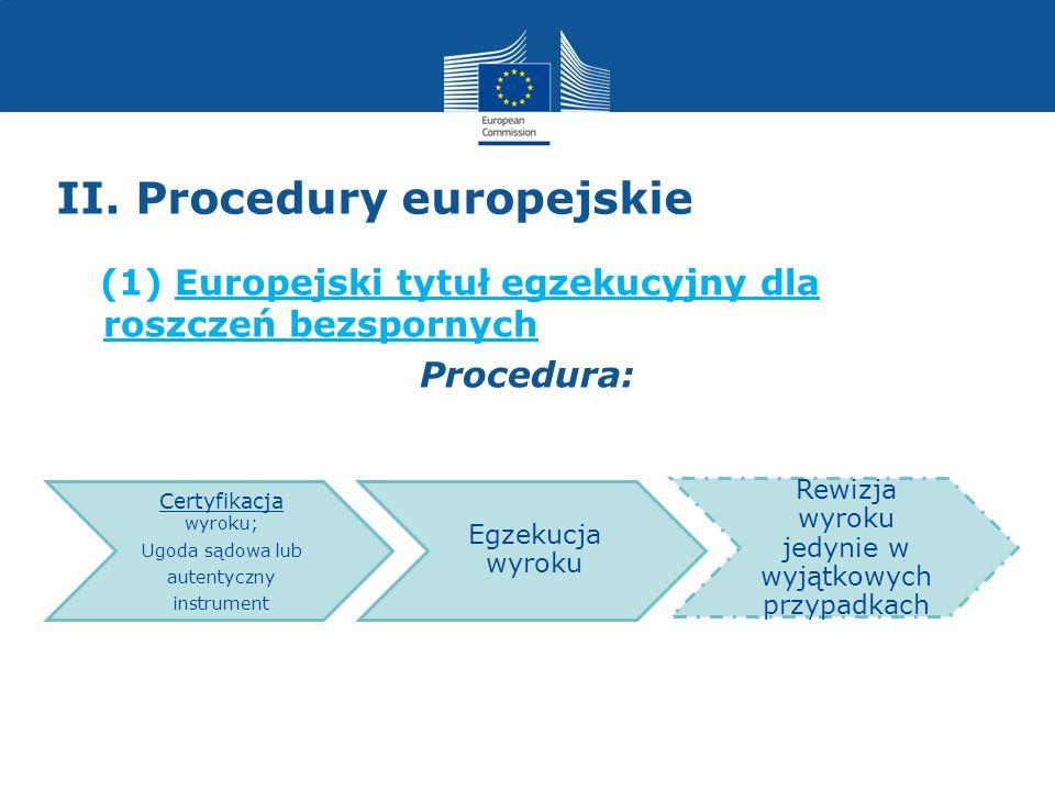 II. Procedury europejskie (1) Europejski tytuł egzekucyjny dla roszczeń bezspornych Procedura: Certyfikacja wyroku; Ugoda sądowa lub autentyczny instr
