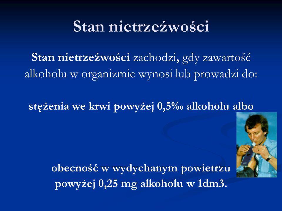 Stan nietrzeźwości Stan nietrzeźwości zachodzi, gdy zawartość alkoholu w organizmie wynosi lub prowadzi do: stężenia we krwi powyżej 0,5 alkoholu albo
