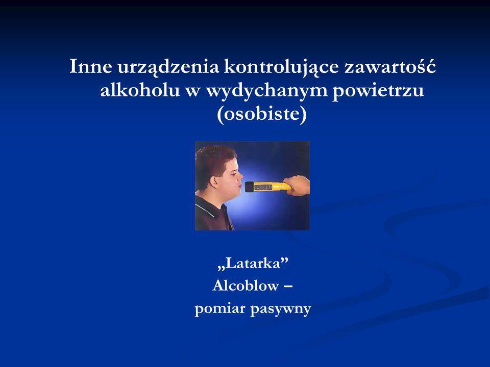 Inne urządzenia kontrolujące zawartość alkoholu w wydychanym powietrzu (osobiste) Latarka Alcoblow – pomiar pasywny