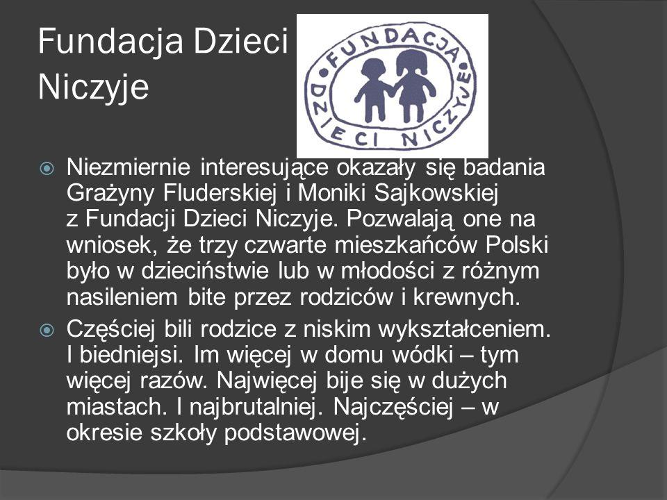Fundacja Dzieci Niczyje Niezmiernie interesujące okazały się badania Grażyny Fluderskiej i Moniki Sajkowskiej z Fundacji Dzieci Niczyje. Pozwalają one