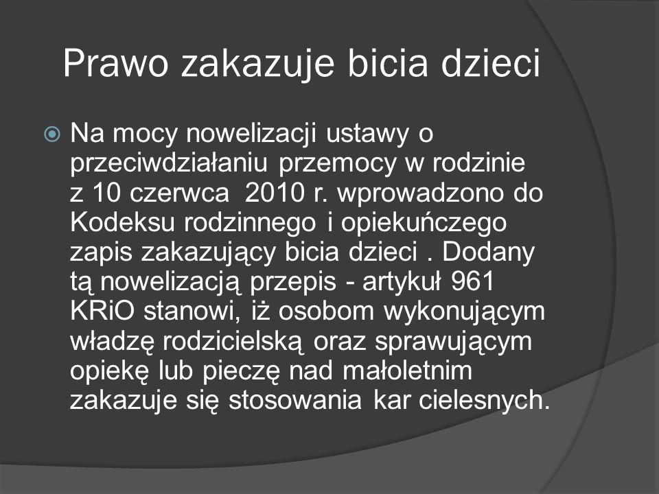 Polacy nie zdają sobie sprawy z zakazu bicia dzieci.