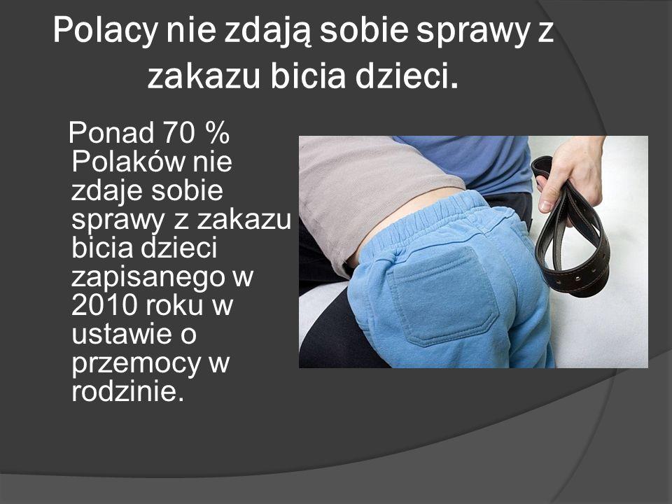Świadomość społeczna Społeczne przyzwolenie na kary fizyczne wobec dzieci maleje w Polsce powoli - ciągle niewiele ponad 1/3 dorosłych uważa, że rodzice nigdy nie powinni fizycznie karcić dzieci.
