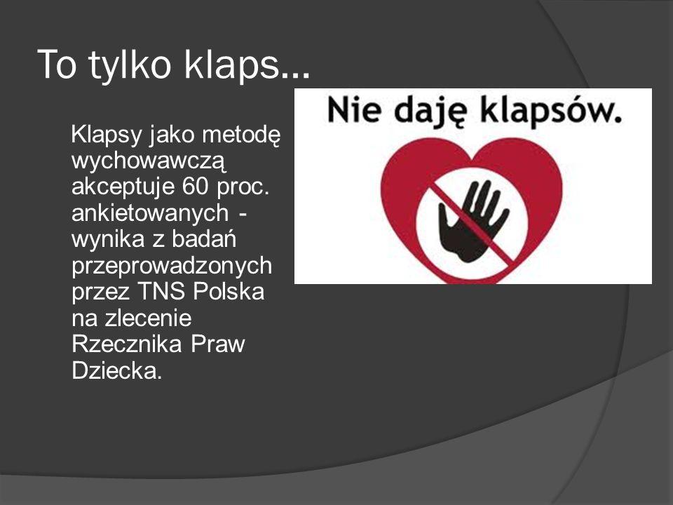 To tylko klaps… Klapsy jako metodę wychowawczą akceptuje 60 proc. ankietowanych - wynika z badań przeprowadzonych przez TNS Polska na zlecenie Rzeczni