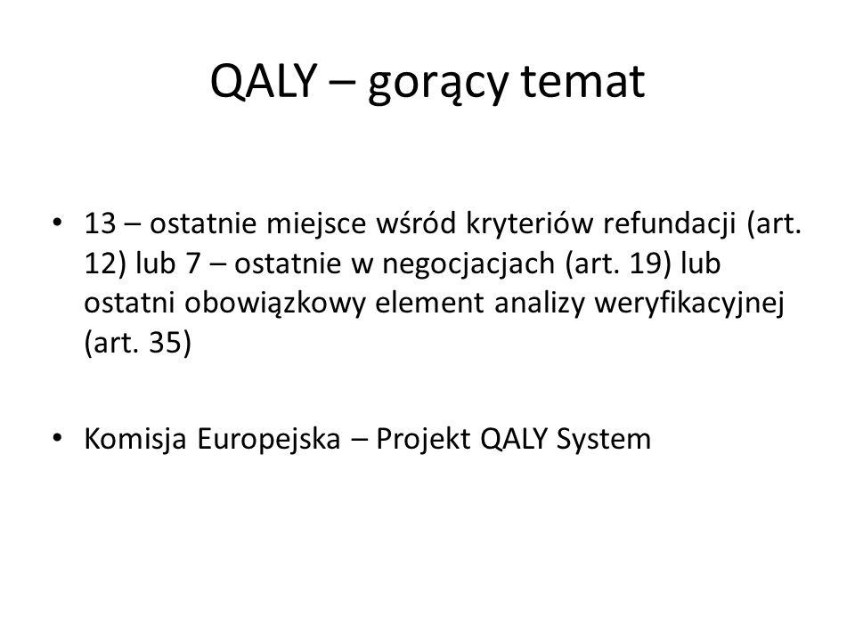 QALY – gorący temat 13 – ostatnie miejsce wśród kryteriów refundacji (art. 12) lub 7 – ostatnie w negocjacjach (art. 19) lub ostatni obowiązkowy eleme