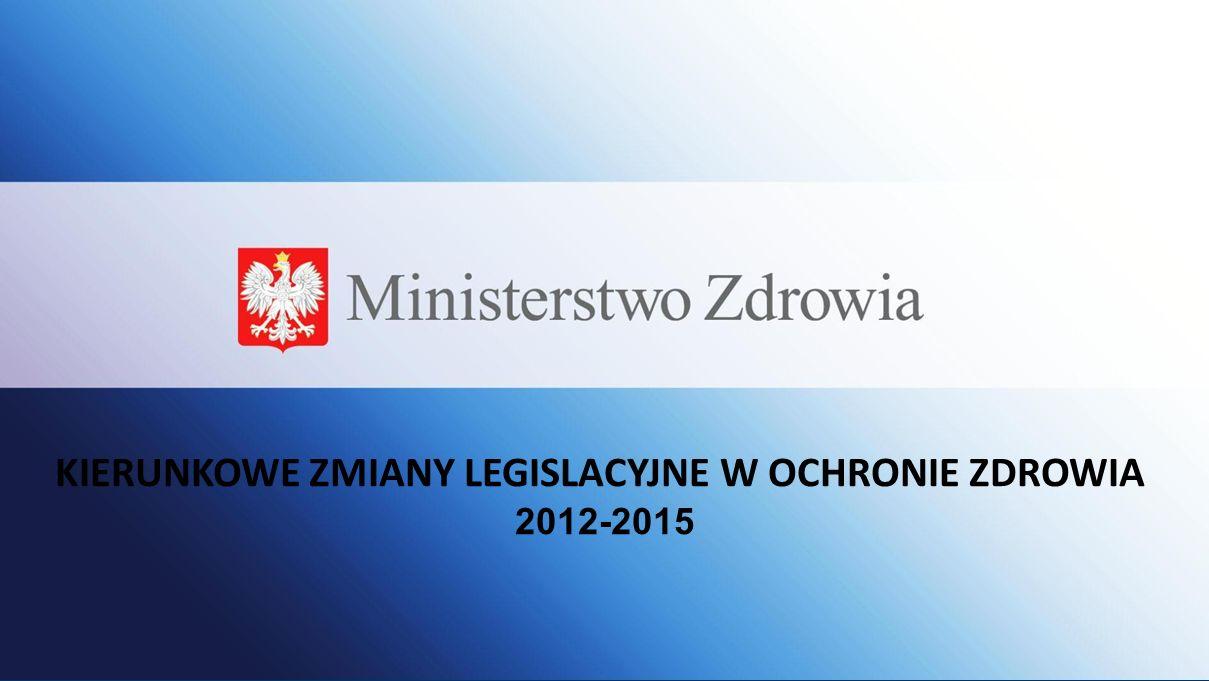 Zwiększenie efektywności finansowania lecznictwa ze środków publicznych Stworzenie kręgosłupa bezpieczeństwa zdrowotnego w Polsce Nadzór nad leczeniem pacjenta, skrócenie czasu oczekiwania na świadczenia Rozwój profilaktyki Kierunkowe zmiany legislacyjne Ustawa o instytucjach systemu ubezpieczenia zdrowotnego Ustawa o konsultantach w ochronie zdrowia Ustawa o dodatkowym ubezpieczeniu zdrowotnym Ustawa o zdrowiu publicznym Ustawa o szpitalach klinicznych Poprawa efektywności systemu opieki zdrowotnej