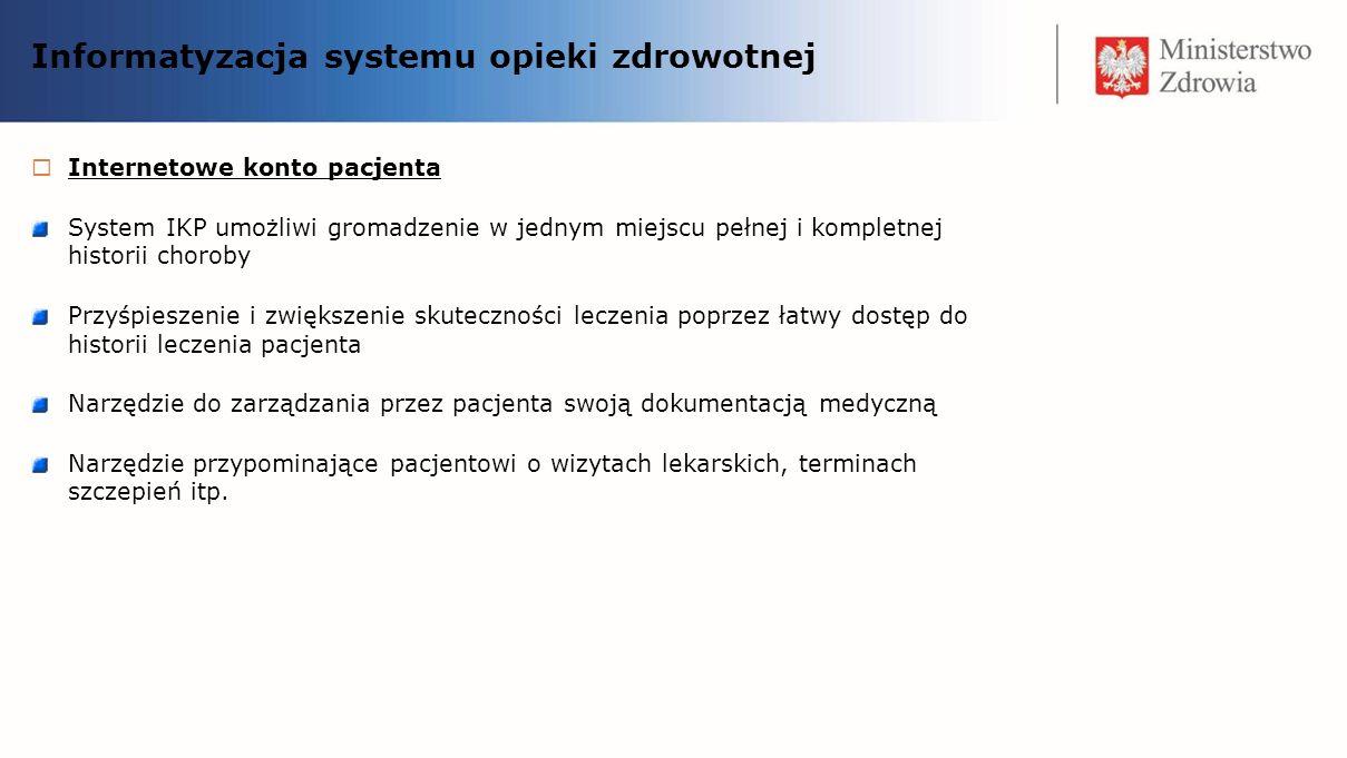 Informatyzacja systemu opieki zdrowotnej Internetowe konto pacjenta System IKP umożliwi gromadzenie w jednym miejscu pełnej i kompletnej historii chor