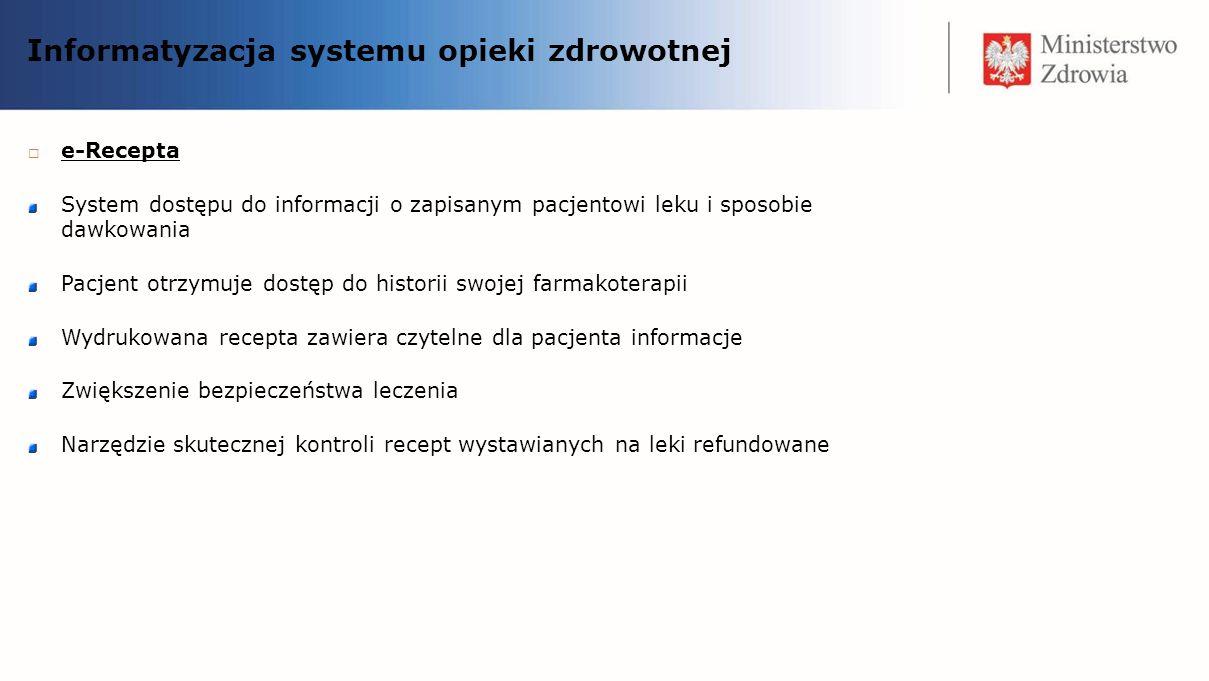 Informatyzacja systemu opieki zdrowotnej e-Recepta System dostępu do informacji o zapisanym pacjentowi leku i sposobie dawkowania Pacjent otrzymuje do