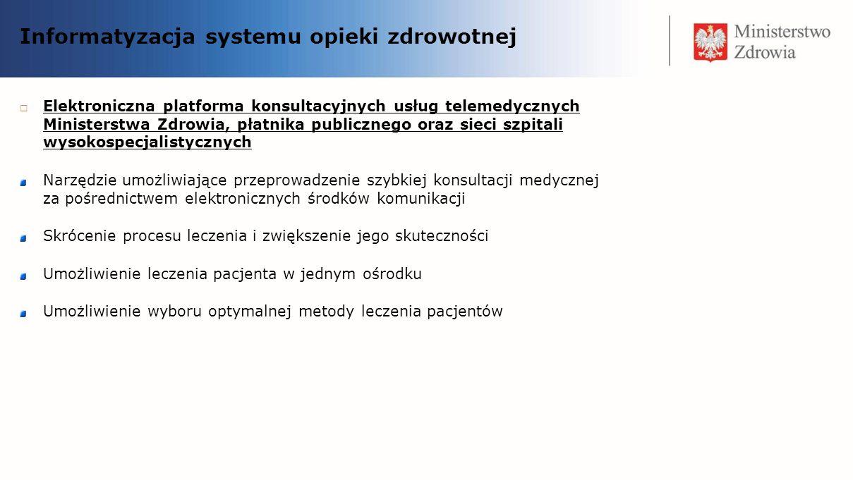 Informatyzacja systemu opieki zdrowotnej Elektroniczna platforma konsultacyjnych usług telemedycznych Ministerstwa Zdrowia, płatnika publicznego oraz