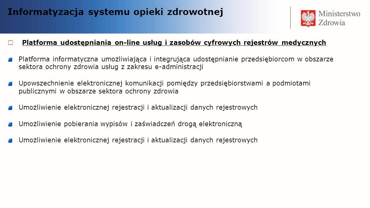 Platforma udostępniania on-line usług i zasobów cyfrowych rejestrów medycznych Platforma informatyczna umożliwiająca i integrująca udostępnianie przed