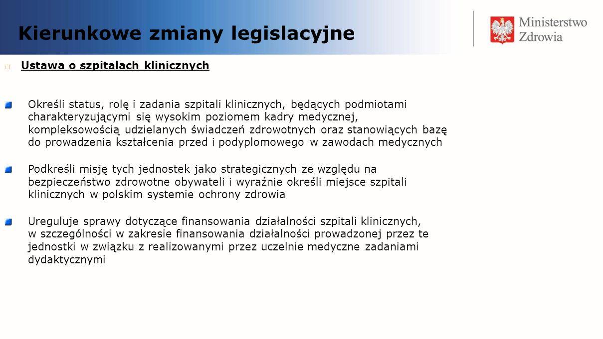 Kierunkowe zmiany legislacyjne Ustawa o szpitalach klinicznych Określi status, rolę i zadania szpitali klinicznych, będących podmiotami charakteryzują