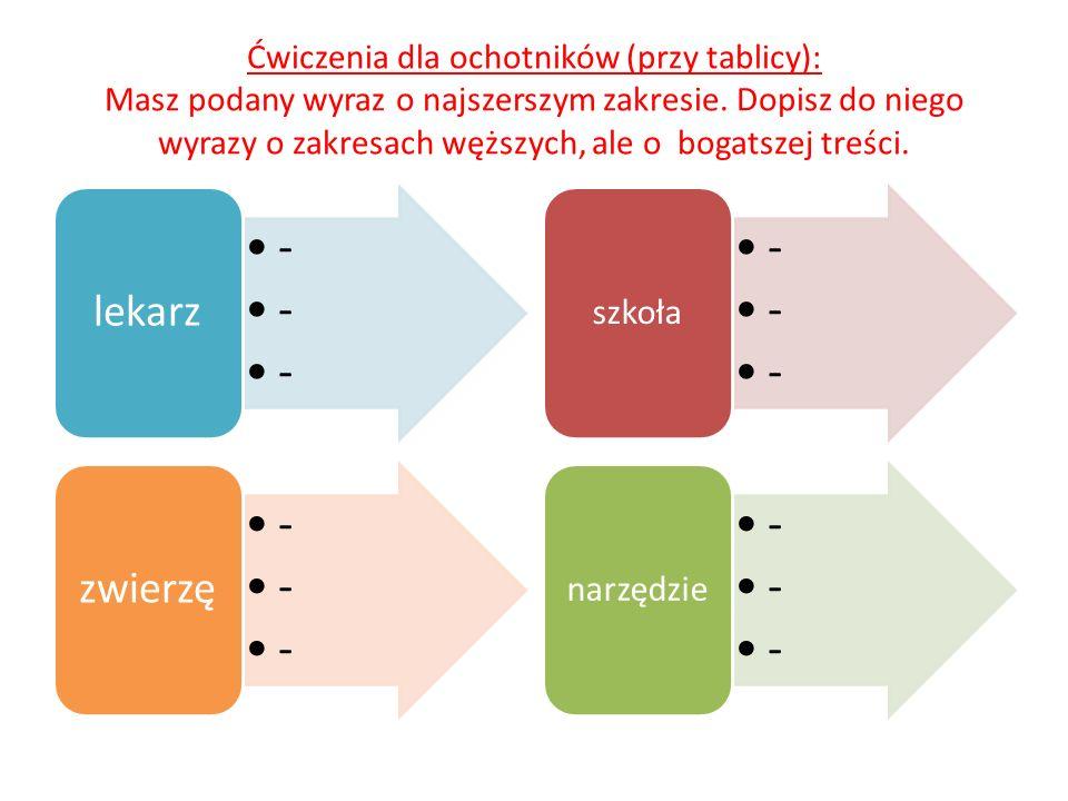 Ćwiczenia dla ochotników (przy tablicy): Masz podany wyraz o najszerszym zakresie. Dopisz do niego wyrazy o zakresach węższych, ale o bogatszej treści