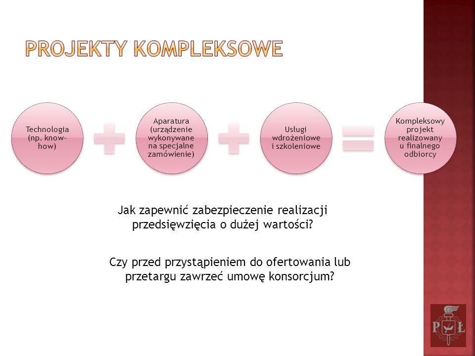 Technologia (np. know- how) Aparatura (urządzenie wykonywane na specjalne zamówienie) Usługi wdrożeniowe i szkoleniowe Kompleksowy projekt realizowany