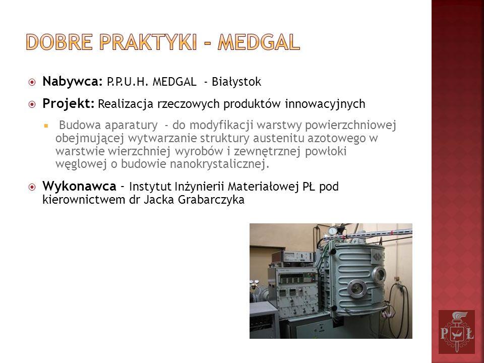 Nabywca: P.P.U.H. MEDGAL - Białystok Projekt: Realizacja rzeczowych produktów innowacyjnych Budowa aparatury - do modyfikacji warstwy powierzchniowej