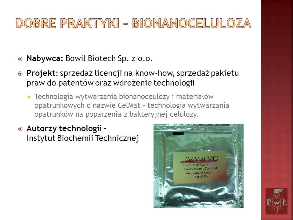 Nabywca: Bowil Biotech Sp. z o.o. Projekt: sprzedaż licencji na know-how, sprzedaż pakietu praw do patentów oraz wdrożenie technologii Technologia wyt