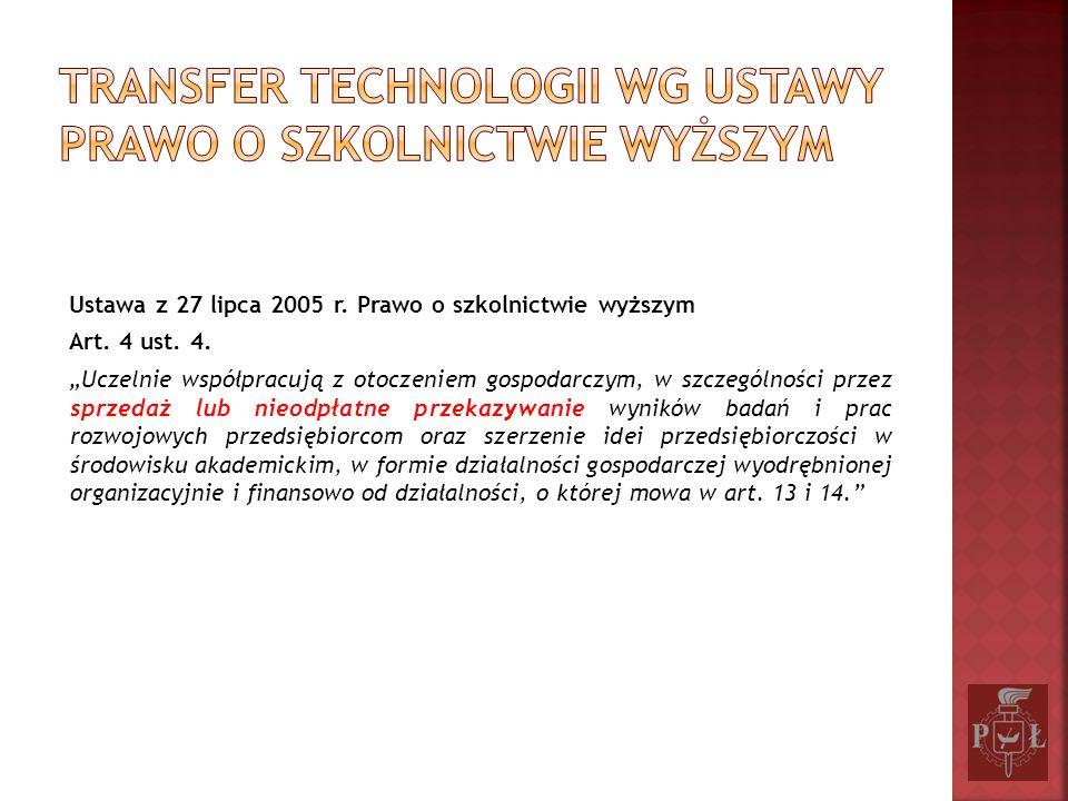Wyniki badań i prac rozwojowych powstałe na uczelni Sprzedaż Aport Nieodpłatne przekazanie Licencje (wyłączne/niewyłączne) Prawa do technologii (prawa do know-how, patentów, znaków towarowych itp.) Gotowe rozwiązania (aparatura, urządzenia, maszyny) Licencje (wyłączne/niewyłączne) Prawa do technologii (prawa do know-how, patentów, znaków towarowych itp.) Gotowe rozwiązania (aparatura, urządzenia, maszyny)