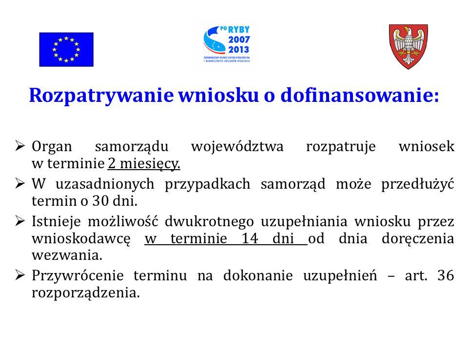 Rozpatrywanie wniosku o dofinansowanie: Organ samorządu województwa rozpatruje wniosek w terminie 2 miesięcy.