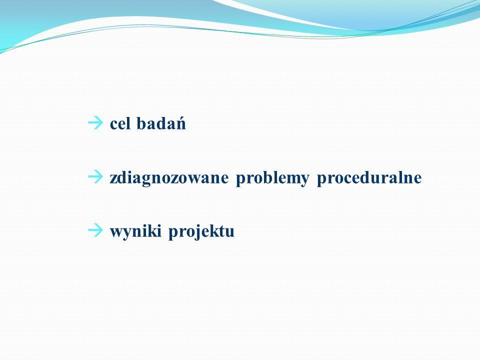 cel badań rozpoznanie barier proceduralnych przy realizacji przepisów o koordynacji systemów zabezpieczenia społecznego wymiana doświadczeń i dobrych praktyk zainicjowanie dalszych działań: wewnętrznych – w ramach danej instytucji lub ewentualnej współpracy między zainteresowanymi instytucjami sprowokowanie dyskusji na poziomie krajowym: w obszarach akademickim, eksperckim, administracji publicznej