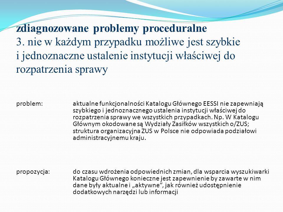 zdiagnozowane problemy proceduralne 3. nie w każdym przypadku możliwe jest szybkie i jednoznaczne ustalenie instytucji właściwej do rozpatrzenia spraw