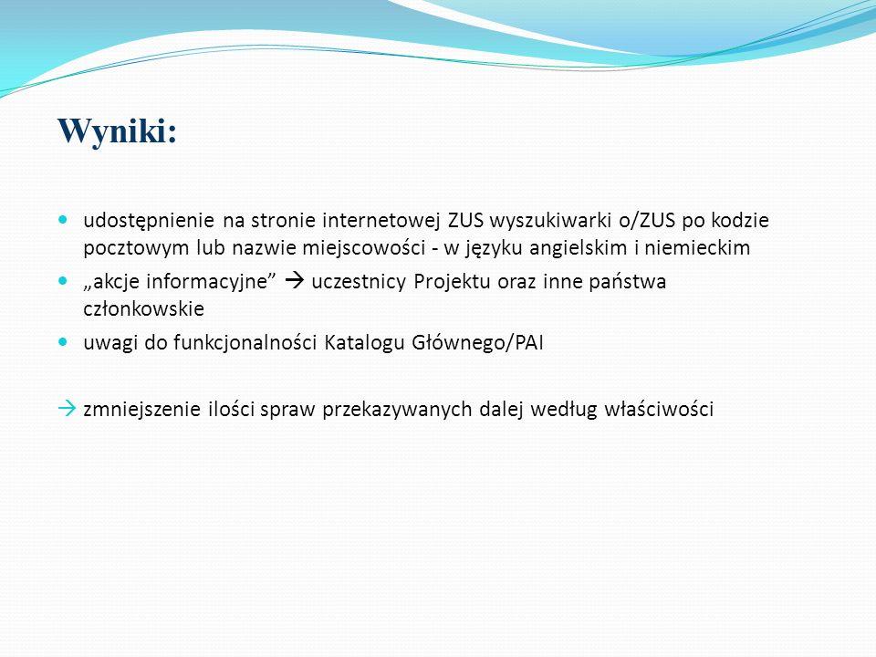 Wyniki: udostępnienie na stronie internetowej ZUS wyszukiwarki o/ZUS po kodzie pocztowym lub nazwie miejscowości - w języku angielskim i niemieckim ak