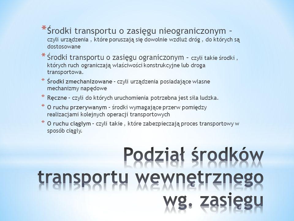 * Urządzenia transportu wewnętrznego umożliwiającego przemieszczanie zapasów * Urządzenia pomocnicze ułatwiające zarówno przemieszczanie, składowanie jak i formowanie jednostek transportowych.