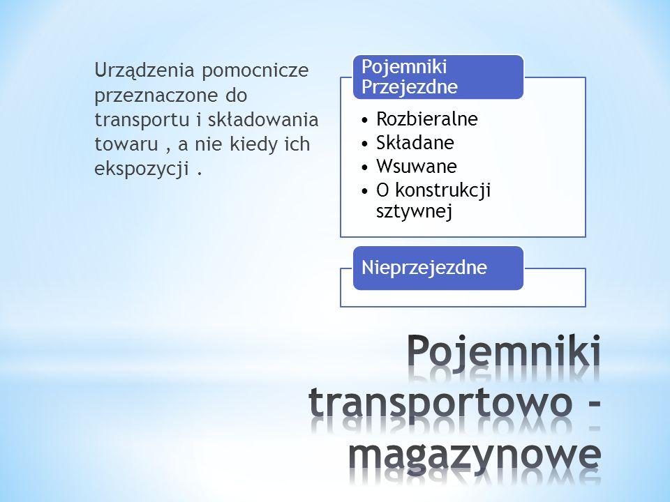 Urządzenia pomocnicze przeznaczone do transportu i składowania towaru, a nie kiedy ich ekspozycji. Rozbieralne Składane Wsuwane O konstrukcji sztywnej