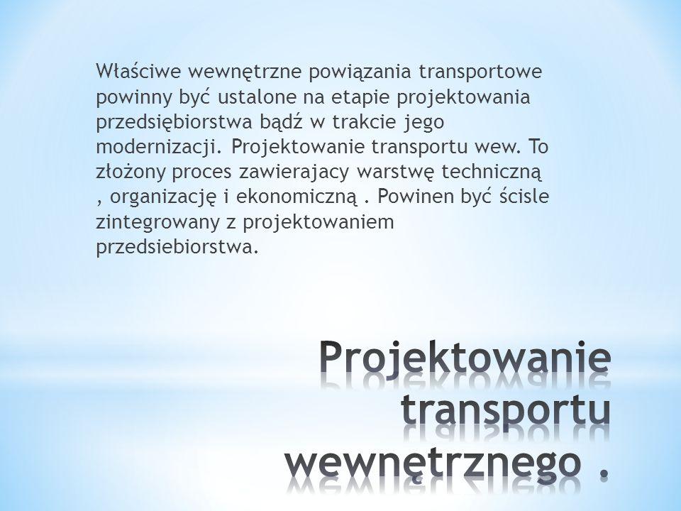 Właściwe wewnętrzne powiązania transportowe powinny być ustalone na etapie projektowania przedsiębiorstwa bądź w trakcie jego modernizacji. Projektowa