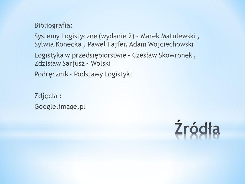 Bibliografia: Systemy Logistyczne (wydanie 2) – Marek Matulewski, Sylwia Konecka, Paweł Fajfer, Adam Wojciechowski Logistyka w przedsiębiorstwie – Cze
