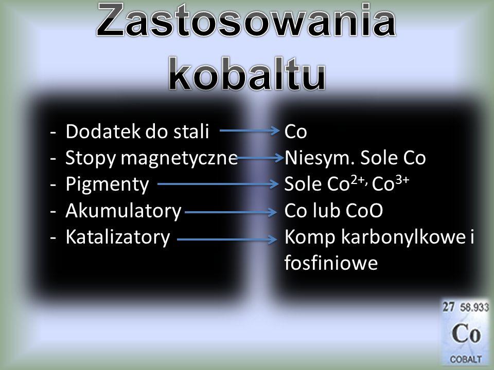 -Dodatek do stali -Stopy magnetyczne -Pigmenty -Akumulatory -Katalizatory Co Niesym. Sole Co Sole Co 2+, Co 3+ Co lub CoO Komp karbonylkowe i fosfinio