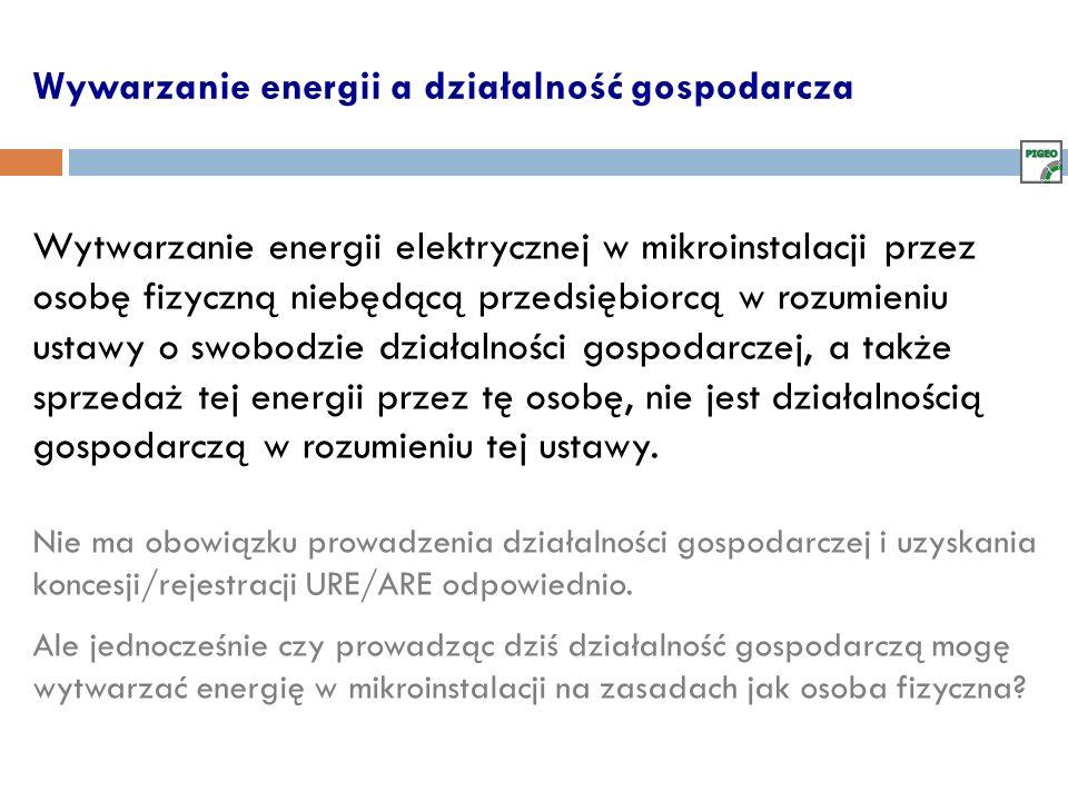 Wywarzanie energii a działalność gospodarcza Wytwarzanie energii elektrycznej w mikroinstalacji przez osobę fizyczną niebędącą przedsiębiorcą w rozumi