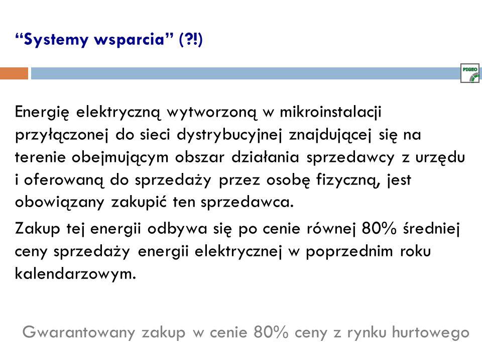 Systemy wsparcia (?!) Energię elektryczną wytworzoną w mikroinstalacji przyłączonej do sieci dystrybucyjnej znajdującej się na terenie obejmującym obs