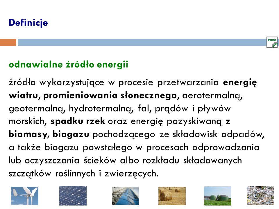 Definicje odnawialne źródło energii źródło wykorzystujące w procesie przetwarzania energię wiatru, promieniowania słonecznego, aerotermalną, geotermal