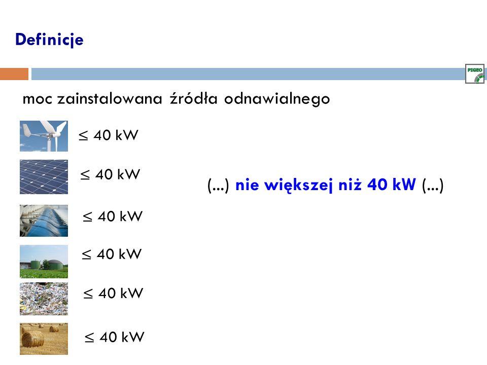 Definicje (...) nie większej niż 40 kW (...) 40 kW moc zainstalowana źródła odnawialnego