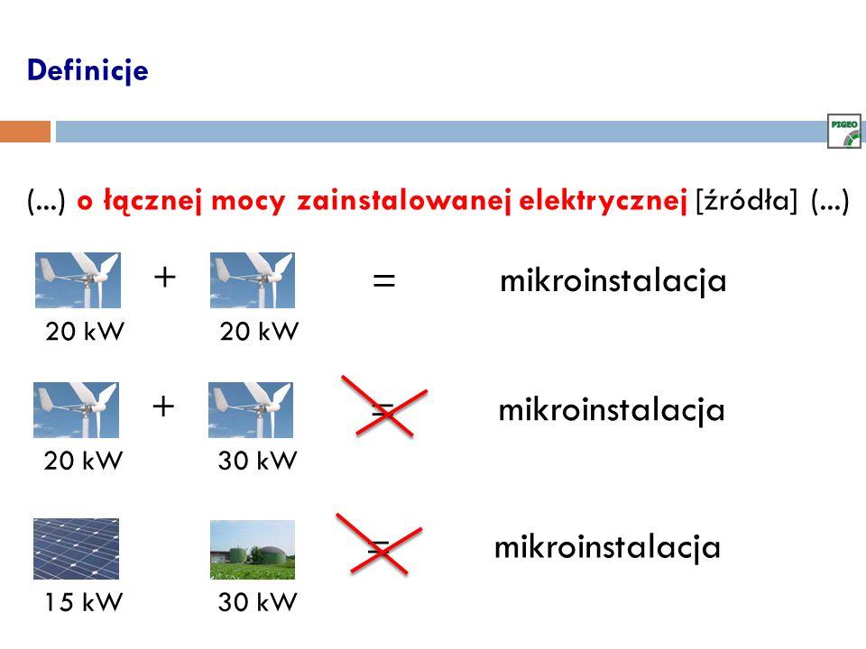 Definicje (...) o łącznej mocy zainstalowanej elektrycznej [źródła] (...) 20 kW + = mikroinstalacja 20 kW30 kW + = mikroinstalacja 15 kW30 kW = mikroi