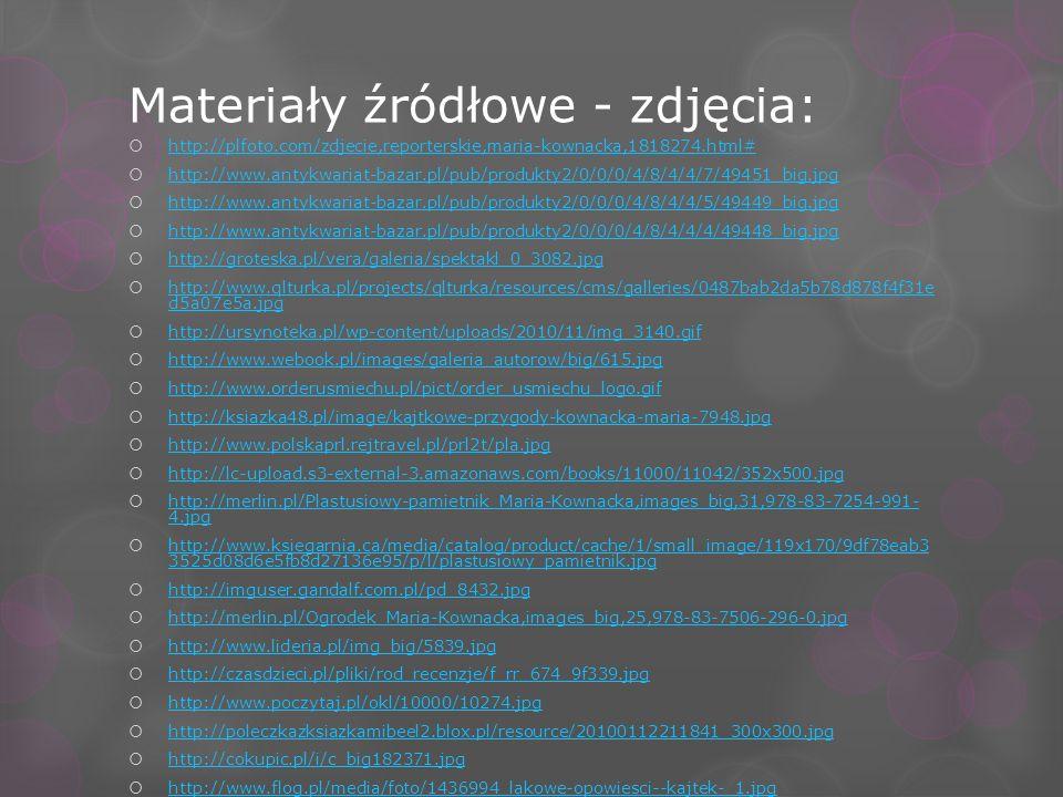 Materiały źródłowe - zdjęcia: http://plfoto.com/zdjecie,reporterskie,maria-kownacka,1818274.html# http://www.antykwariat-bazar.pl/pub/produkty2/0/0/0/