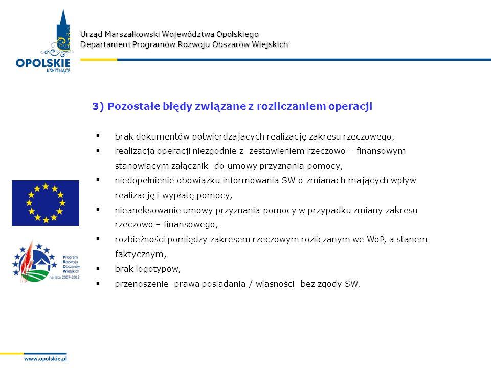 Urząd Marszałkowski Województwa Opolskiego Departament Programów Rozwoju Obszarów Wiejskich 3) Pozostałe błędy związane z rozliczaniem operacji brak dokumentów potwierdzających realizację zakresu rzeczowego, realizacja operacji niezgodnie z zestawieniem rzeczowo – finansowym stanowiącym załącznik do umowy przyznania pomocy, niedopełnienie obowiązku informowania SW o zmianach mających wpływ realizację i wypłatę pomocy, nieaneksowanie umowy przyznania pomocy w przypadku zmiany zakresu rzeczowo – finansowego, rozbieżności pomiędzy zakresem rzeczowym rozliczanym we WoP, a stanem faktycznym, brak logotypów, przenoszenie prawa posiadania / własności bez zgody SW.