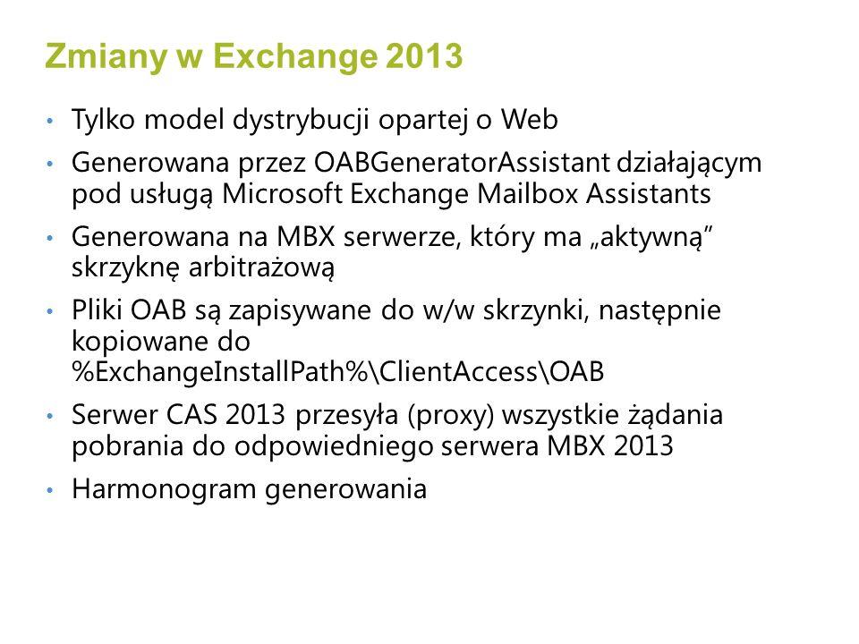 Tylko model dystrybucji opartej o Web Generowana przez OABGeneratorAssistant działającym pod usługą Microsoft Exchange Mailbox Assistants Generowana na MBX serwerze, który ma aktywną skrzyknę arbitrażową Pliki OAB są zapisywane do w/w skrzynki, następnie kopiowane do %ExchangeInstallPath%\ClientAccess\OAB Serwer CAS 2013 przesyła (proxy) wszystkie żądania pobrania do odpowiedniego serwera MBX 2013 Harmonogram generowania Zmiany w Exchange 2013