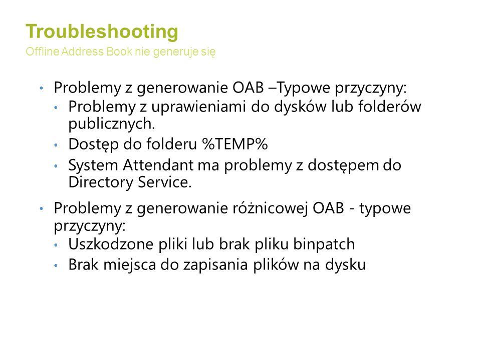 Problemy z generowanie OAB –Typowe przyczyny: Problemy z uprawieniami do dysków lub folderów publicznych.