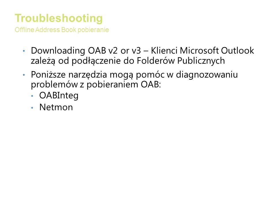 Downloading OAB v2 or v3 – Klienci Microsoft Outlook zależą od podłączenie do Folderów Publicznych Poniższe narzędzia mogą pomóc w diagnozowaniu problemów z pobieraniem OAB: OABInteg Netmon Troubleshooting Offline Address Book pobieranie