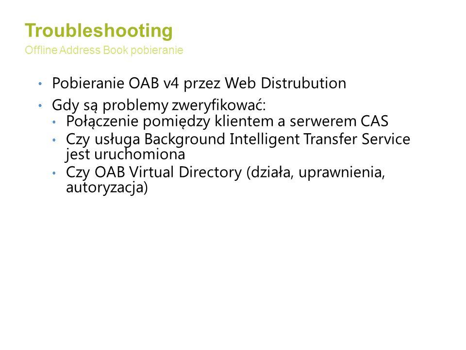 Pobieranie OAB v4 przez Web Distrubution Gdy są problemy zweryfikować: Połączenie pomiędzy klientem a serwerem CAS Czy usługa Background Intelligent Transfer Service jest uruchomiona Czy OAB Virtual Directory (działa, uprawnienia, autoryzacja) Troubleshooting Offline Address Book pobieranie