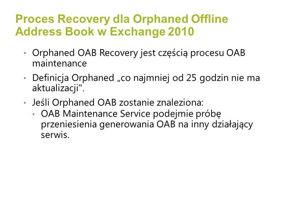 Orphaned OAB Recovery jest częścią procesu OAB maintenance Definicja Orphaned co najmniej od 25 godzin nie ma aktualizacji .